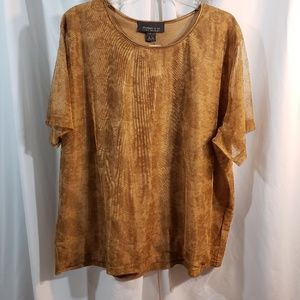 Lane Bryant plus 26 28w golden brown mesh over Kni